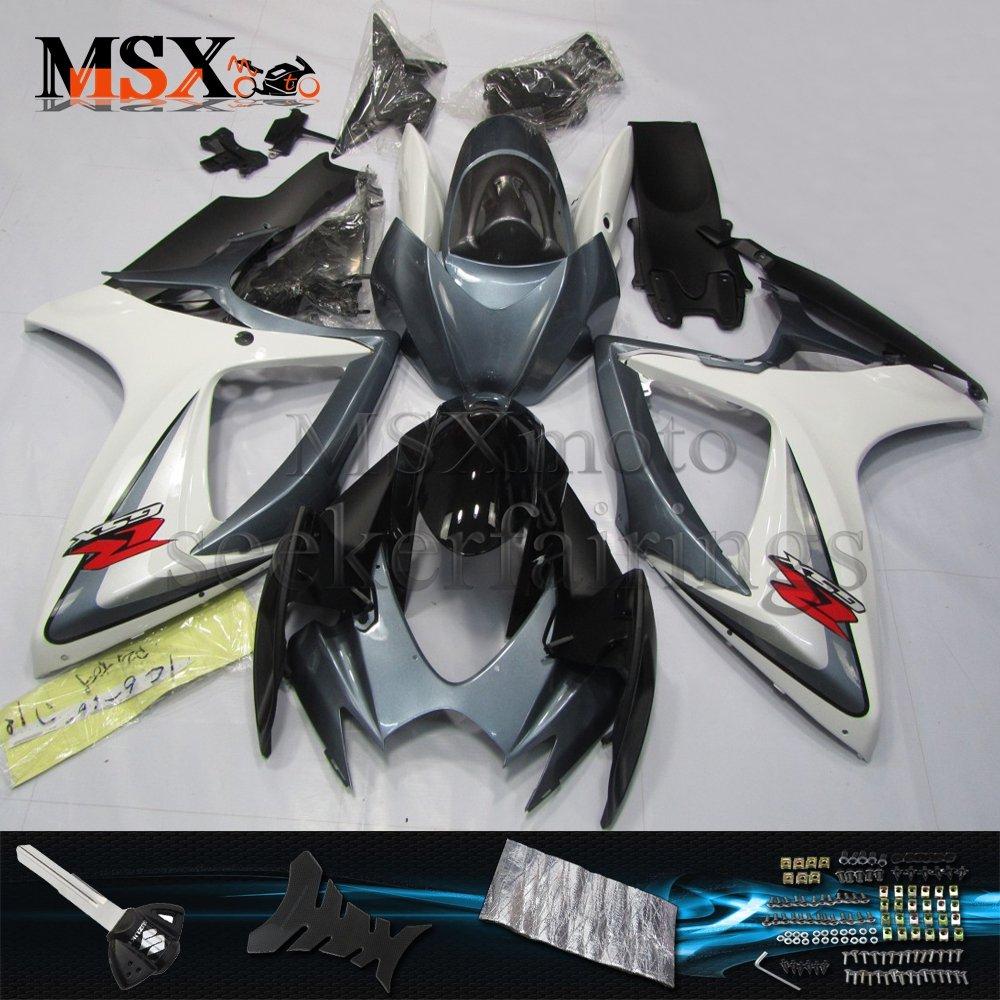 MSX-moto 適応ホンダ Suzuki GSXR600 GSXR750 K6 GSX-R600 GSX-R750 06 07 GSXR 2006 2007年 小R 外装パーツセット ABS射出成型完全なオートバイ車体 白/ホワイト&黒/ブラックのボディ   B07F28LQBC