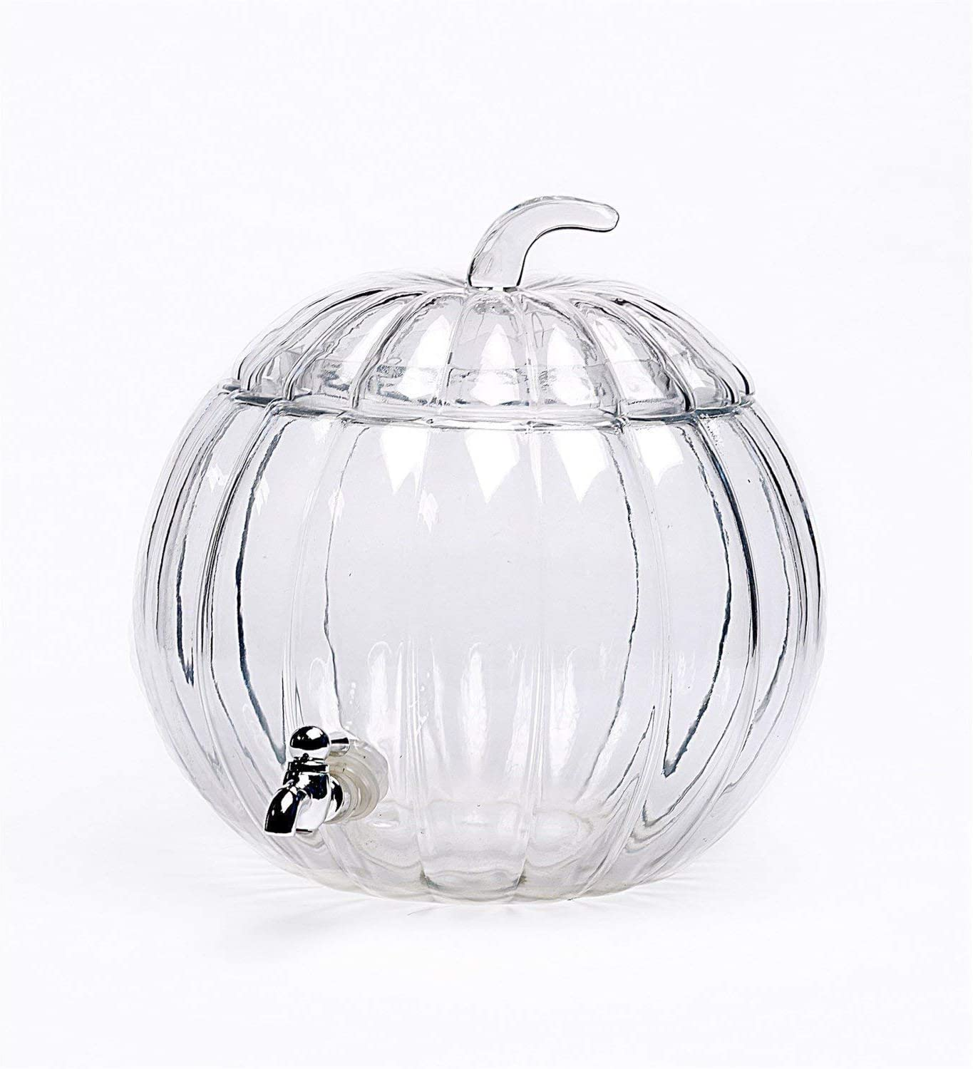 Circleware Pumpkin Jar Glass Beverage Dispenser with Lid, Glassware Water Juice, Beer, Wine, Liquor, Kombucha Iced Punch & Best Selling Drinks, 1.9 Gallon, Clear