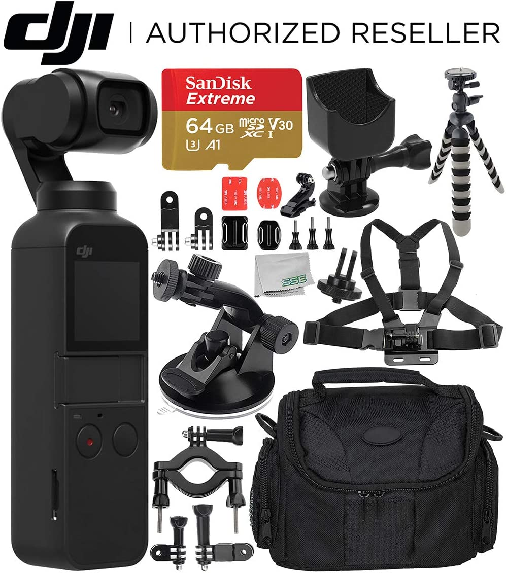 DJI Osmo Pocket Gimbal with Must-Have Action Accessory Bundle Includes SanDisk Extreme 64GB microSDXC Memory Card Accessory Mount Flexible Gripster Tripod Suction Cup Mount More