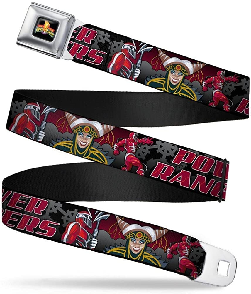 20-36 Inches in Length 1.0 Wide POWER RANGERS Lord Zedd Poses//Rita Repulsa Smiling Black//Gray//Reds Buckle-Down Seatbelt Belt