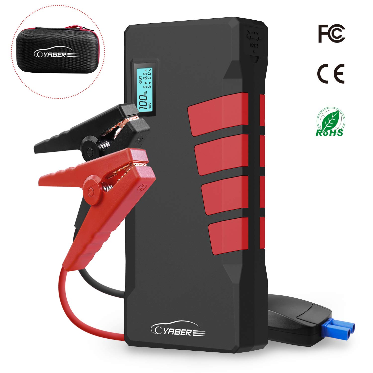 Car Jump Starter, Yaber 1000A Peak 20800 MAh Battery