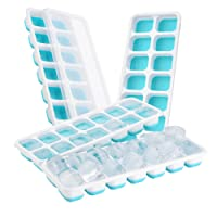 (Blue) - CloudHome 4 Packs Ice Cube Tray, LFGB Certified BPA Free Ice Cube Tray Moulds with Non-Spill Lid, Best for Freezer, Baby Food, Water, Cocktail and Other Drink (Blue)
