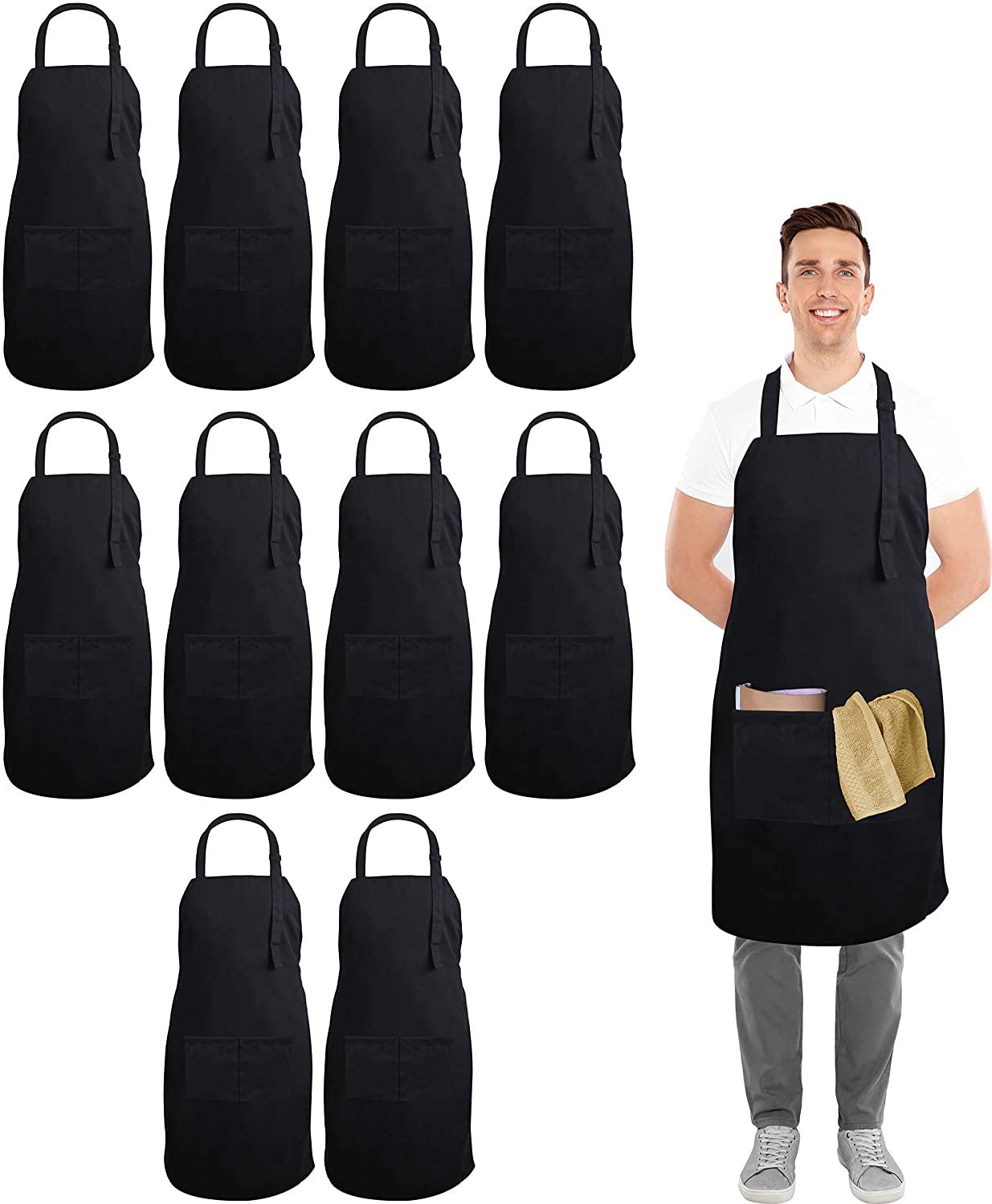 Utopia Kitchen 10 Pack Adjustable Bib Apron with 2 Pockets - Adjustable Neck Strap - 32-Inch by 28-Inch with Extra Long Ties - Black
