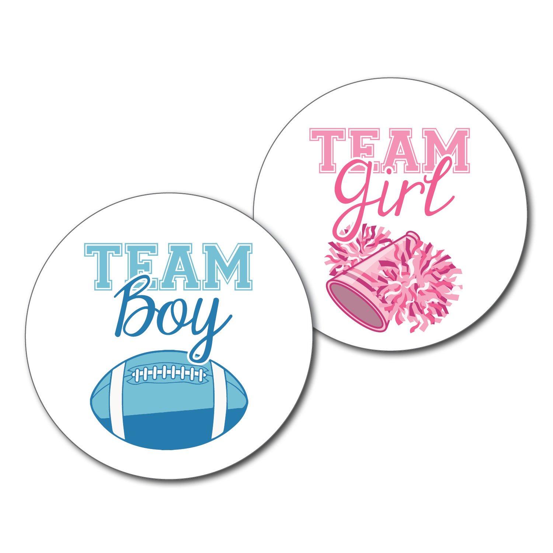 2.5 Set of 36 Football /& Cheerleader Team Boy /& Team Girl Gender Reveal Party Stickers Labels Pink /& Blue