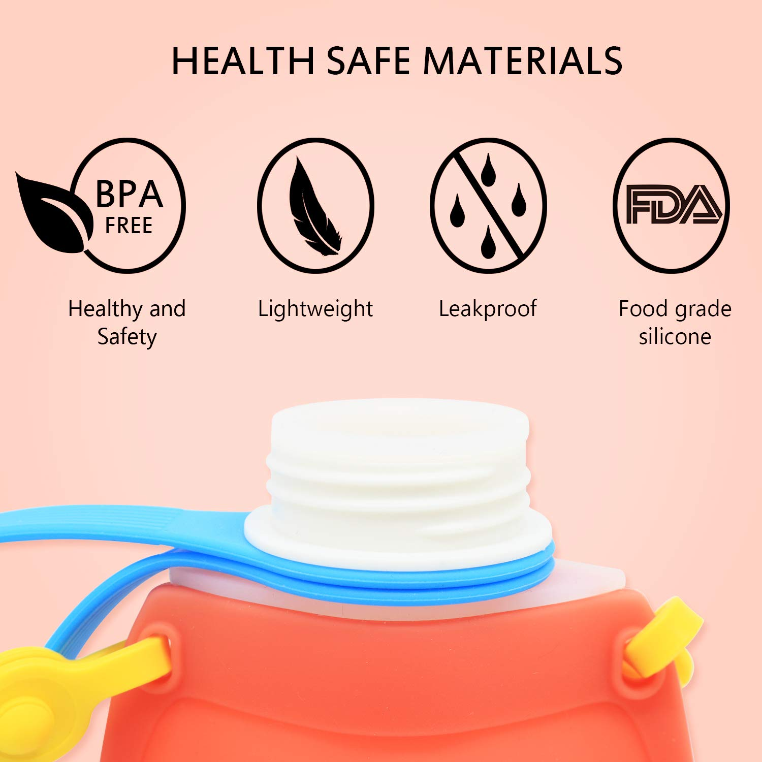 Soft Silicone Collapsing Squeeze Foldable Water Bottles for Kids 10 oz Plastic Colapseable Baby Bottles Boys Girls for Daily Red Camping and Travel Senril Cute BPA Free Water Bottle