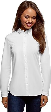 oodji Ultra Mujer Camisa de Algodón con Cuello en Contraste