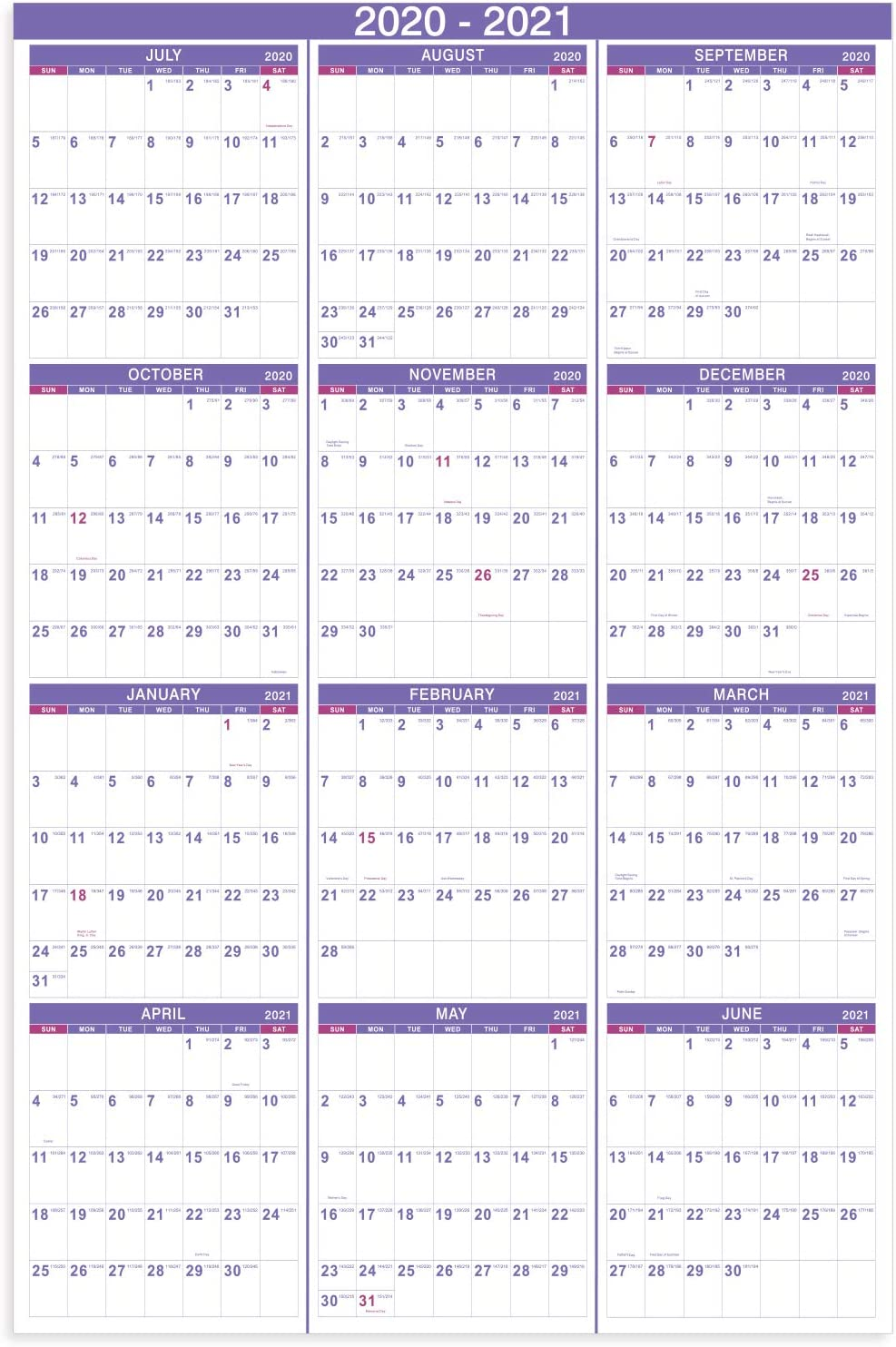 Yearly Wall Calendar 2021 Amazon.: 2020 2021 Yearly Wall Calendar   2020 2021 Academic