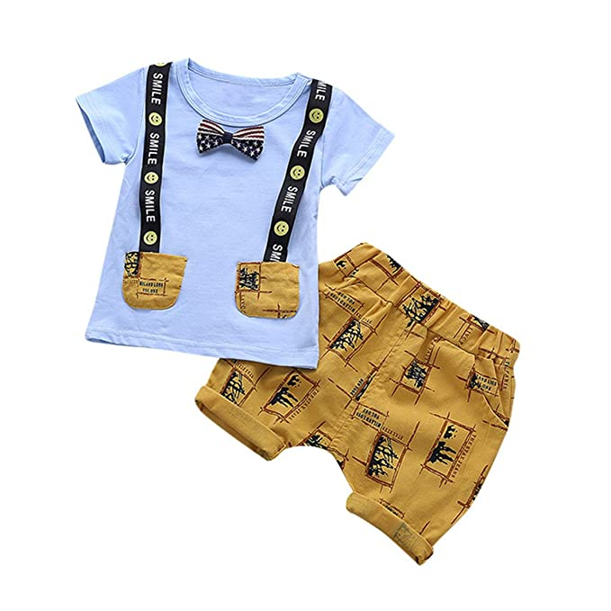 20ed556c6 Bellelove Baby Summer Clothes Sets, Infant Baby Kids Boys Short-Sleeved  Letters Smiley Printing Jacket T-Shirt +Pants Outfits Clothes Set:  Amazon.co.uk: ...