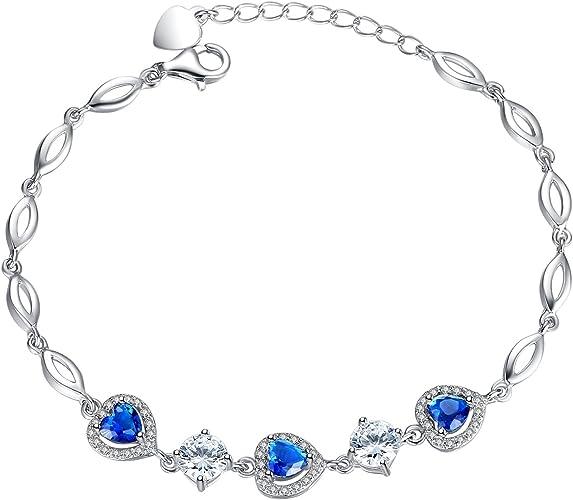 Forfamilyltd Bracelet Coeur femme - Saphir Swarovski Elements Cristal  Bleu-Plaque Or Blanc Argent 925/1000- Cadeau Noël Anniversaire Mariage