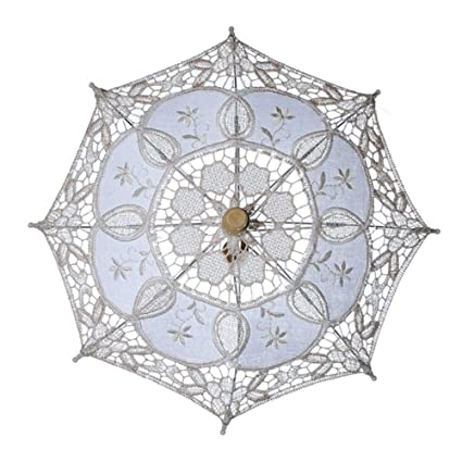 c7f5dc5a28b0 Image Unavailable. Image not available for. Color: ASOSMOS Vintage Cotton  Lace Parasol Umbrellas for Bridal Wedding Party Decoration ...