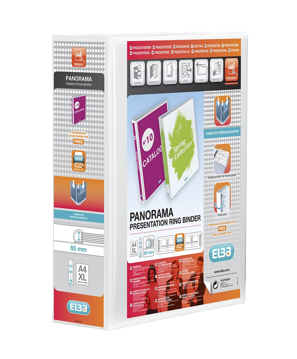 Amazon.com: Elba Panorama 90 Mm A4+ Presentation 2D Ring Binder - White: Computers & Accessories