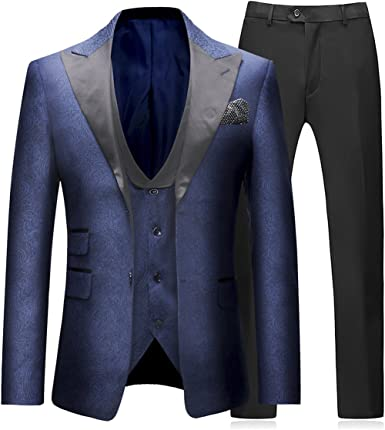 Sliktaa Trajes para Hombre 3 Piezas Slim Fit Boda Formal Traje de Cena Negro Azul Marino Vino Rojo Un bot/ón con Muesca Solapa Esmoquin Blazer Chaqueta Chaqueta y Pantalones