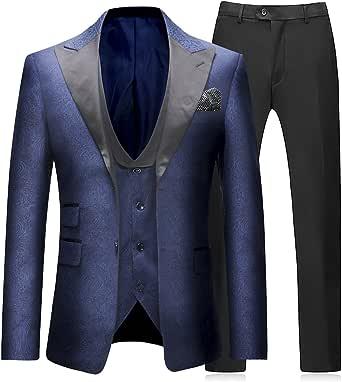 Sliktaa Trajes para Hombre 3 Piezas Slim Fit Boda Formal Traje de Cena Negro Azul Marino Vino Rojo Un botón con Muesca Solapa Esmoquin Blazer Chaqueta ...