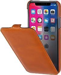 StilGut Custodia per Apple iPhone X/iPhone XS flipcase Verticale in Pelle, Cognac