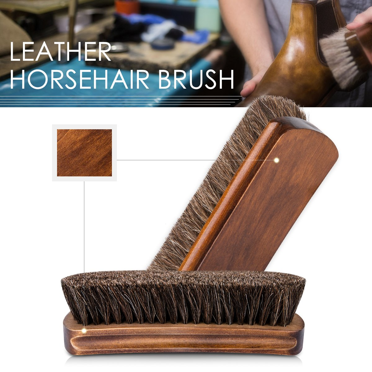 6.7'' Horsehair Shoe Brushes with Horse Hair Bristles for Boots, Shoes & Other Leather Care, 2 Pack (Brown) by Foloda (Image #3)