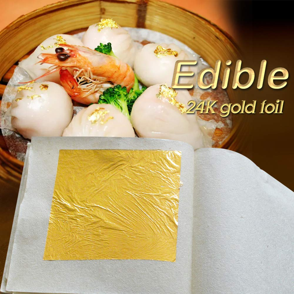 Edible 24K Gold Leaf Sheets 100 pcs 4.33 x 4.33 cm Pure Genuine Facial Edible Gold Leaf for Cooking, Cakes & Chocolates, Decoration, Health & Spa (100 Sheets) by KINNO (Image #3)