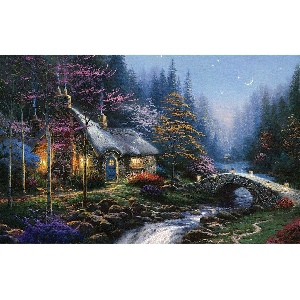 1500pc Puzzle House Basswood Wooden Jigsaw Puzzle, Painting of Winter Cottage, 500 1000 1500 Pieces Puzzles Game For Adults & Kids 503 (Size   1500pc)