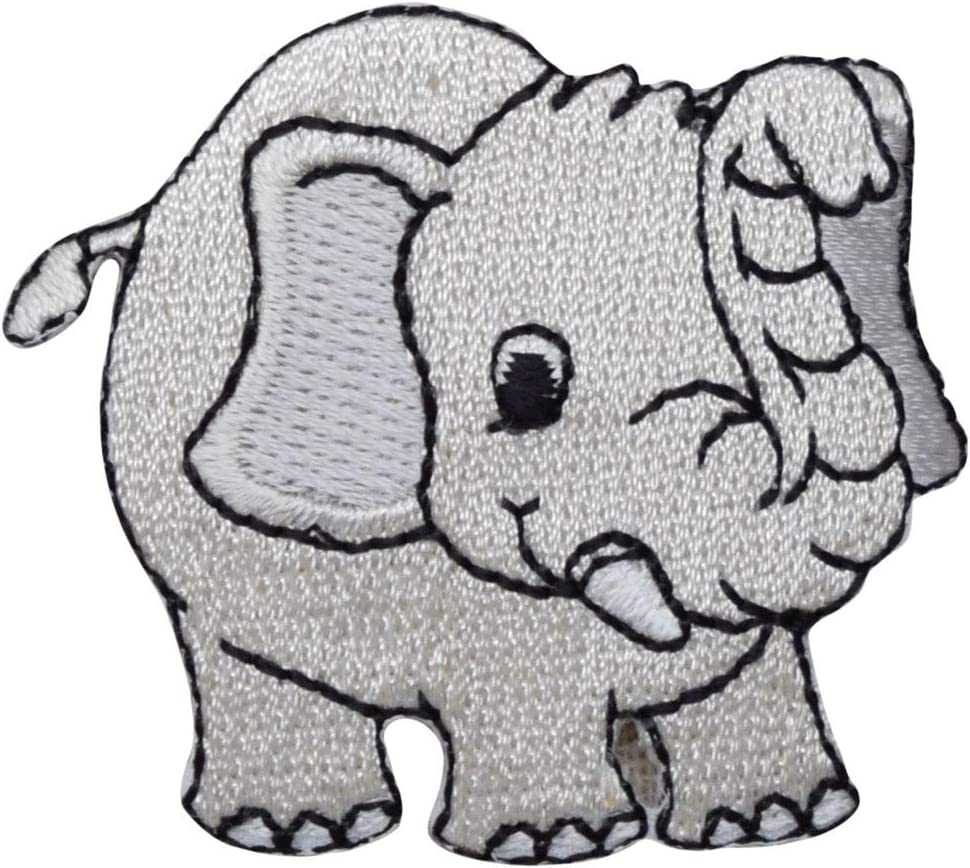 Iron on Childrens Gray Elephant Applique Patch