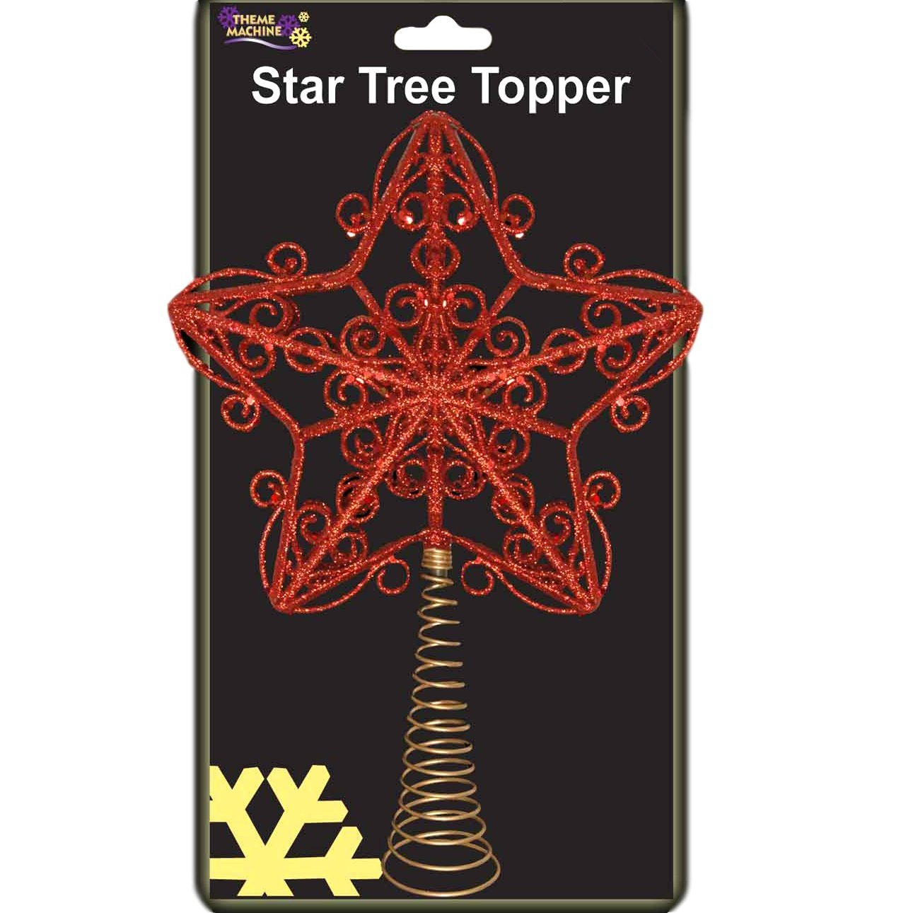 30cm Beautiful Red Glittery Tree Top Star - Christmas Tree Topper Christmas Shop
