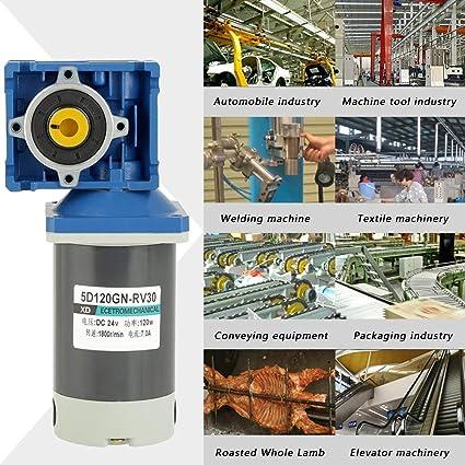 Motorreductor, DC 12V / 24V 120W RV30 Motor de engranaje helicoidal velocidad ajustable CW/CCW con autocierre(24V): Amazon.es: Industria, empresas y ciencia