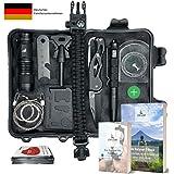 Abida Survival Kit Camping Feuerstarter Klappmesser 12 in 1 Outdoor Emergency Survival Kit mit Survival-Decke Taktische Taschenlampe zum Wandern Tactical Pen Reisen mit Benutzerhandbuch
