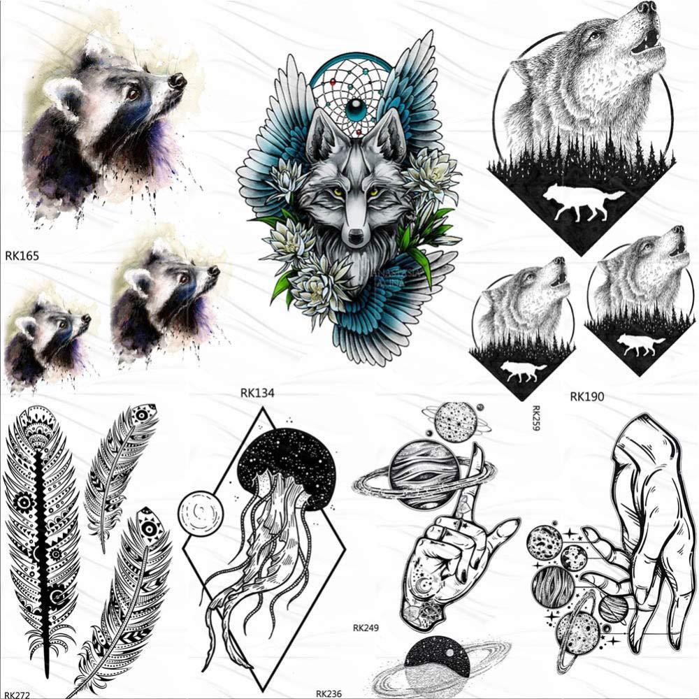 Tatuajes Temporales Adultos Mujer Tribal Mapache Lobo Tatuajes ...