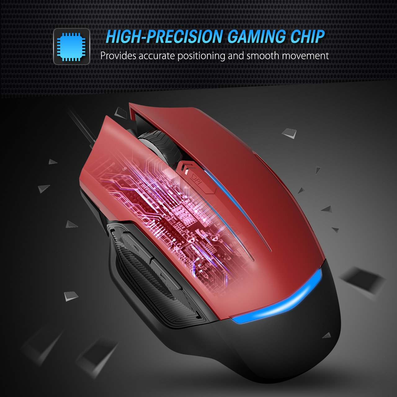PICTEK Gaming Mouse Wired, 8 Programmable Buttons, Chroma