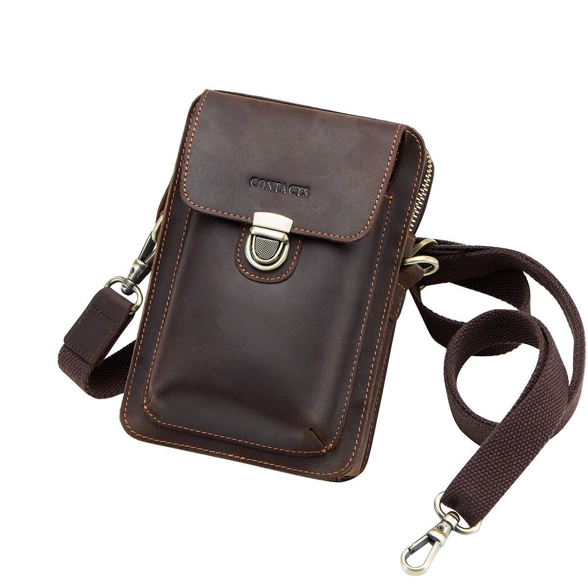 Contacts Genuine Leather Man Small Messenger Bag Belt Bag Waist Pouch Purse for Mobile Phone Dark Coffee