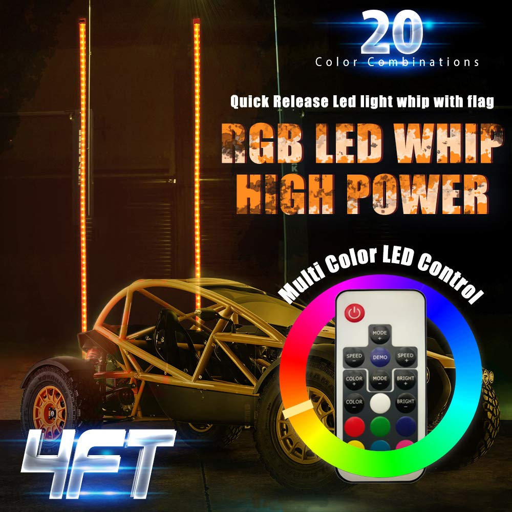 Weatherproof 21 Modes Wireless Remote Accessories for ATV Polaris RZR 4 Wheeler 4 ft - Pack of 2 20 Colors Lighted Antenna Whips 2pc 4ft LED Whip Lights w//Flag