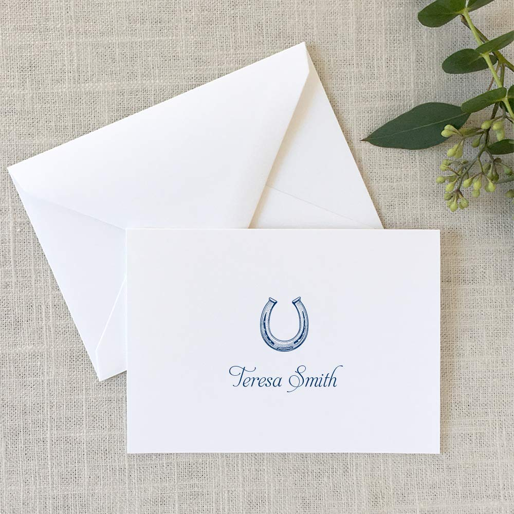 Horseshoe Note Cards, Equestrian Personalized Stationery Folded Notes