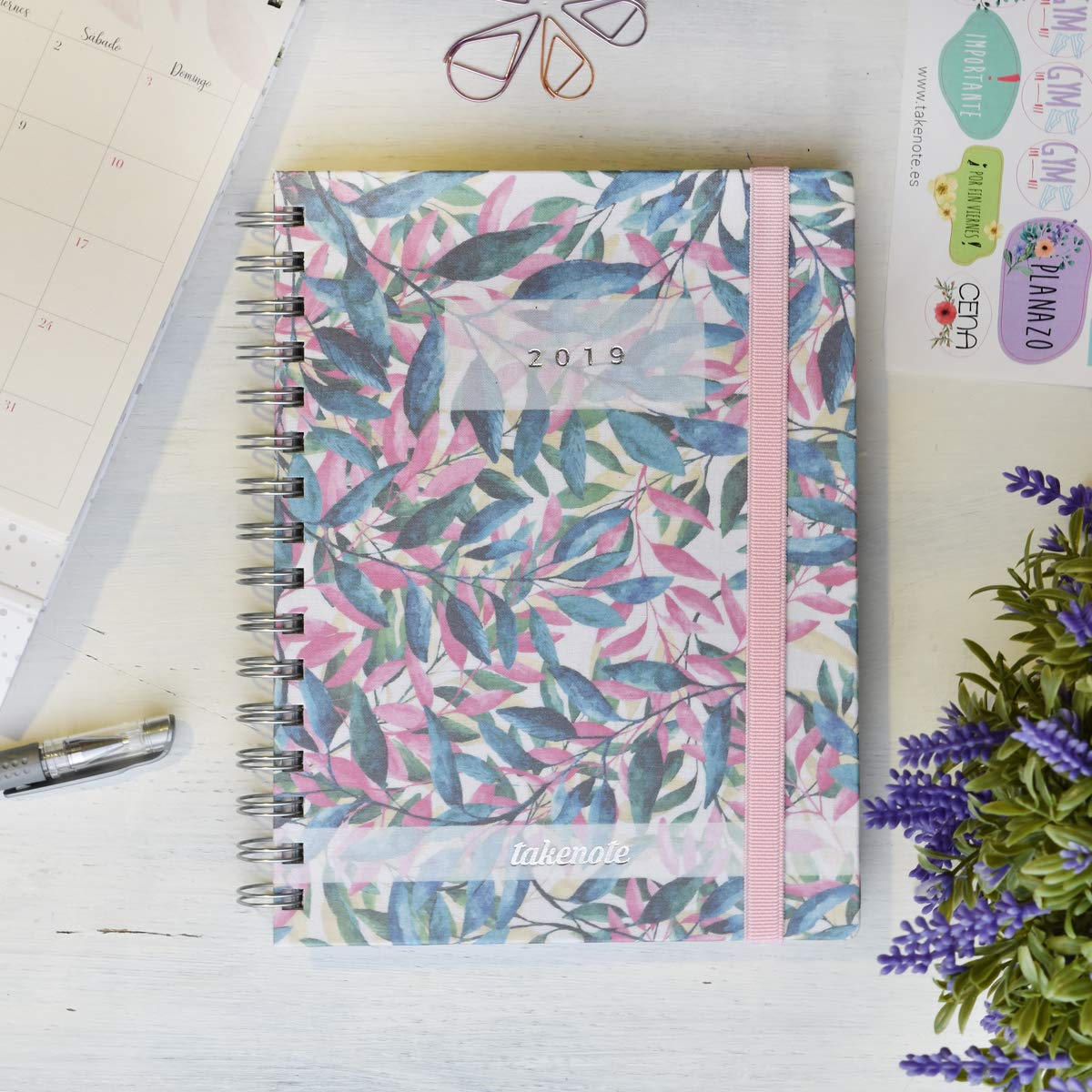 Agenda De Tela 2019 - Takenote Floral- Encuadernación Wire-o - Semana Vista - Tamaño 16,5x21,5
