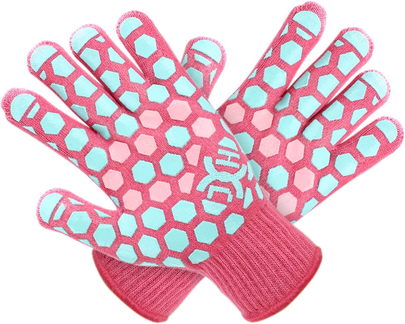JH Heat Resistant BBQ Glove: EN407 Certified 932 °F, 2 Layers Silicone Coating, Coral Shell with Turquoise/Pink Coating, Oven Mitts For Cooking, Kitchen, Fireplace, Grilling, 1 Pair, Women Fits All