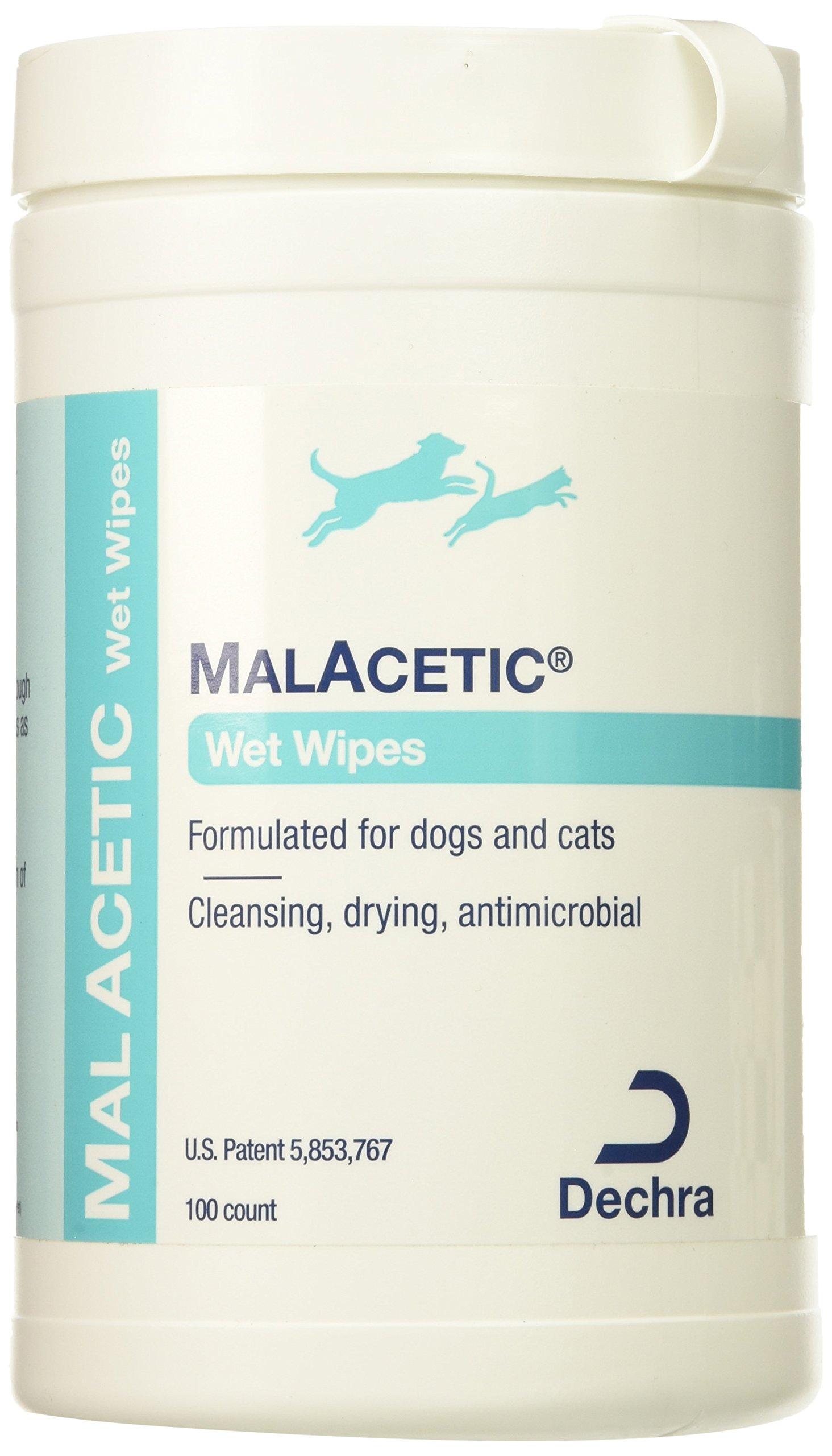 DermaPet MalAcetic Wet Wipes/Dry Bath, 100 Count