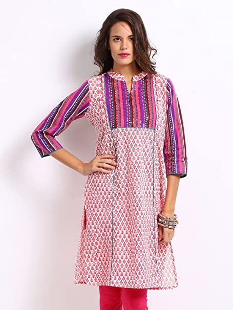 fc2224bc259 Anouk Women Pink   White Printed Kurti Size (S)  Amazon.in  Clothing    Accessories