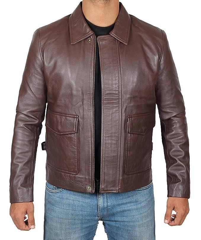 Amazon.com: Chaqueta de cuero marrón para hombre, piel de ...