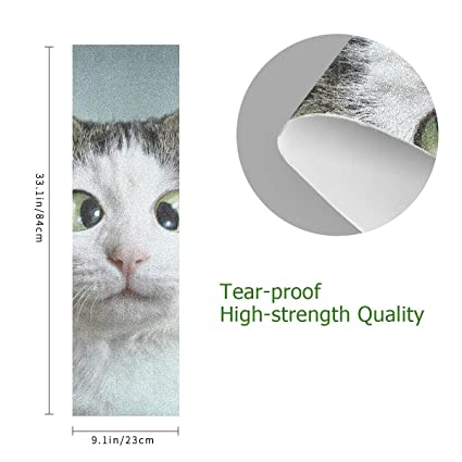 Cat with Blank Card Skateboard Grip Tape Sheet Scooter Deck Sand Paper 9 x 33