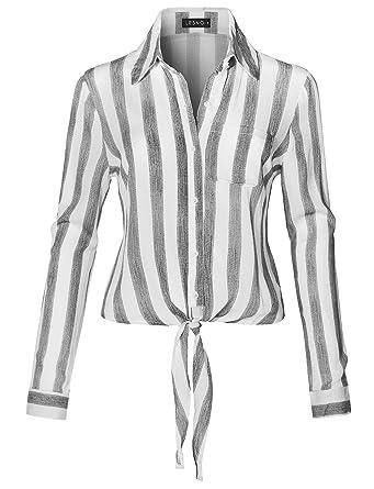 e7f6da2b4dcda LE3NO Womens Long Sleeve Button Down Striped Crinkled Self Tie Blouse Shirt