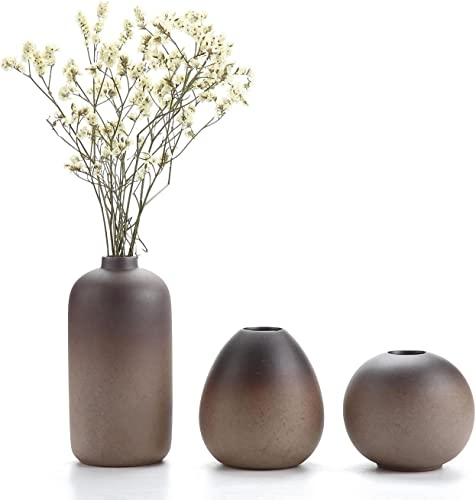 ComSaf Small Ceramic Flower Vase Set of 3, Modern Style Simple Design Metallic Gradually Varied Brown Color Elegant Home Office Living Room Table Desk Decoration for Wedding Home Visit