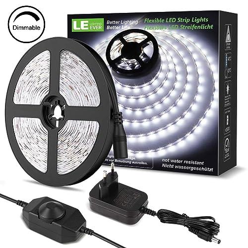 LE LED Luces de Tiras Regulables 5M 1200lm Blanco Frío 6000K 300 LEDs Enchufe en la tira de luz para gabinete armario y más Incluido Fuente de alimentación de 12V y regulador de intensidad