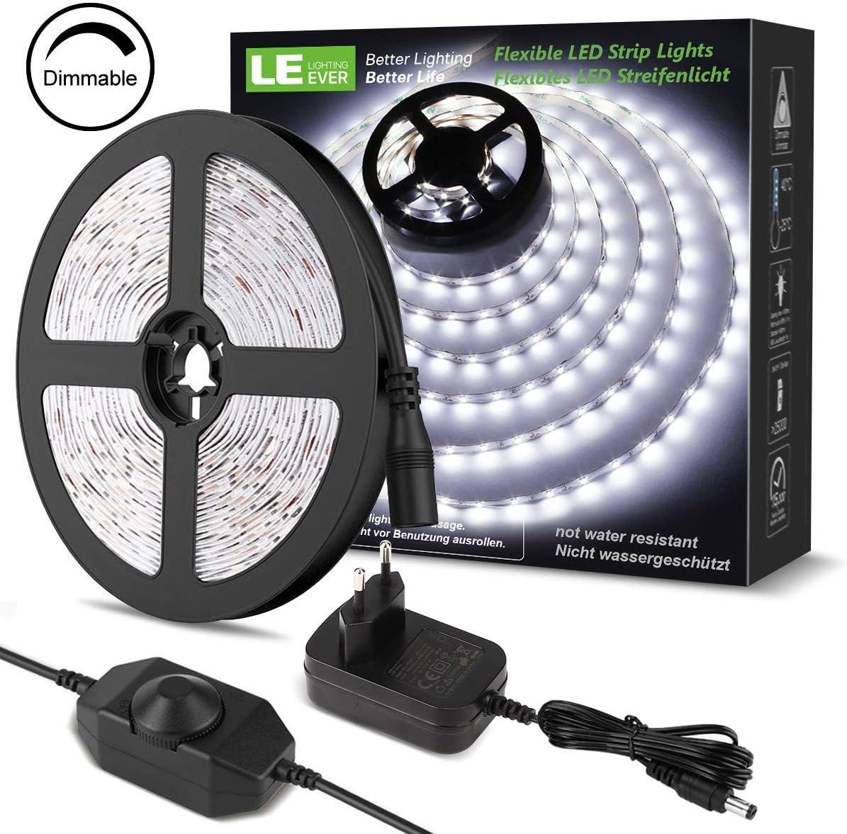 LE LED Luces de Tiras Regulables, 5M 1200lm, Blanco Frío 6000K, 300 LEDs, Enchufe en la tira de luz para gabinete, armario y más, Incluido Fuente de alimentación de 12V y regulador de intensidad