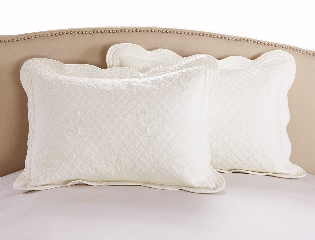 Calla Angel F9-VR8H-X19X Sage Garden Luxury Pure Cotton Quilted Pillow Sham, Ivory, Euro