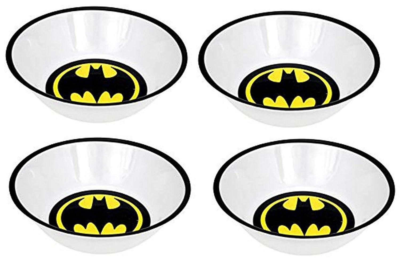 SUPERHERO Snack Size Melamine Plates and Bowls Sets BATMAN, SUPERMAN, MAN OF STEEL, CAPED CRUSADER, Warner Bros. DC Comics (BATMAN LOGO Bowl Set (4))