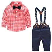 Baby Boys Gentleman Long Sleeve Plaid Shirt and Suspender Pants Set