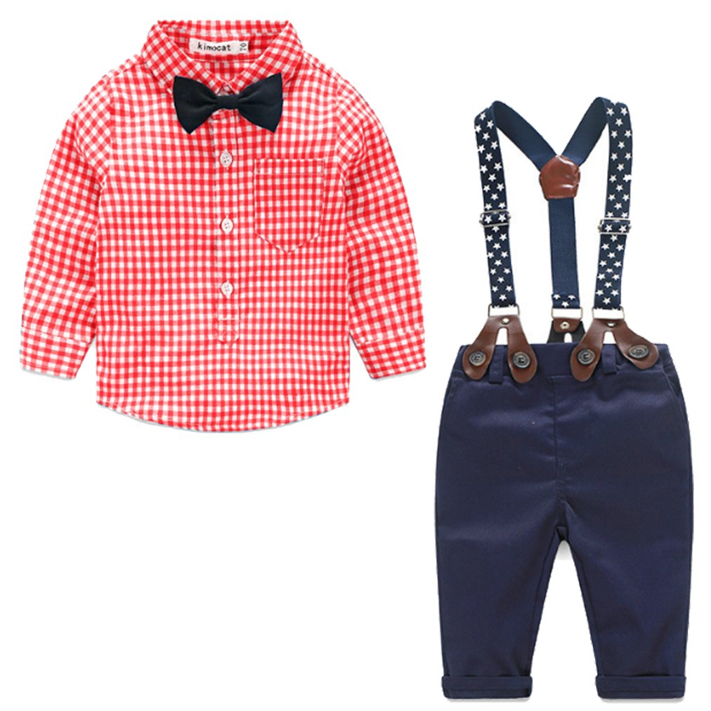 FAYALE Baby Boys Gentleman Long Sleeve Plaid Shirt Suspender Pants Set