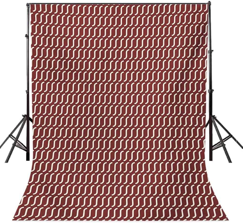 Retro 10x12 FT Photo Backdrops,Curvy Wavy Lines Simplistic Pattern on Dark Red Background Vintage Twist Tile Background for Baby Shower Bridal Wedding Studio Photography Pictures Burgundy White