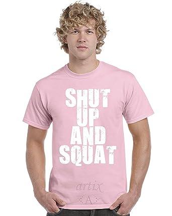 994a54122 Amazon.com: Artix A+ Shut Up & Squat Men T-shirt Medium Light Pink ...