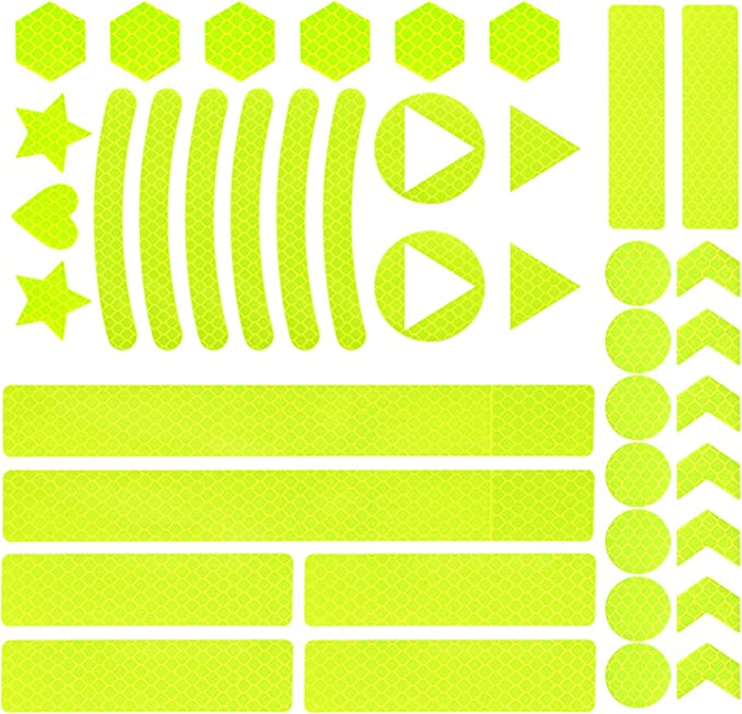 Vegena 41 Stück Reflektoren Aufkleber Sticker Reflektor Sticker Fahrrad Reflektierende Aufkleber Kleidung Reflektoraufkleber Set Für Kinderwagen Und Helme Selbstklebend Und Hochreflektierend Sport Freizeit