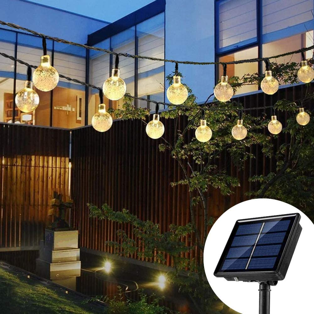 Upgraded Solar String Lights Waterproof 60LED Fairy Lights 8 Modes Outdoor Starry Lights Solar Powered String Light for Garden Yard Home Party Wedding Decoration (Warm White)
