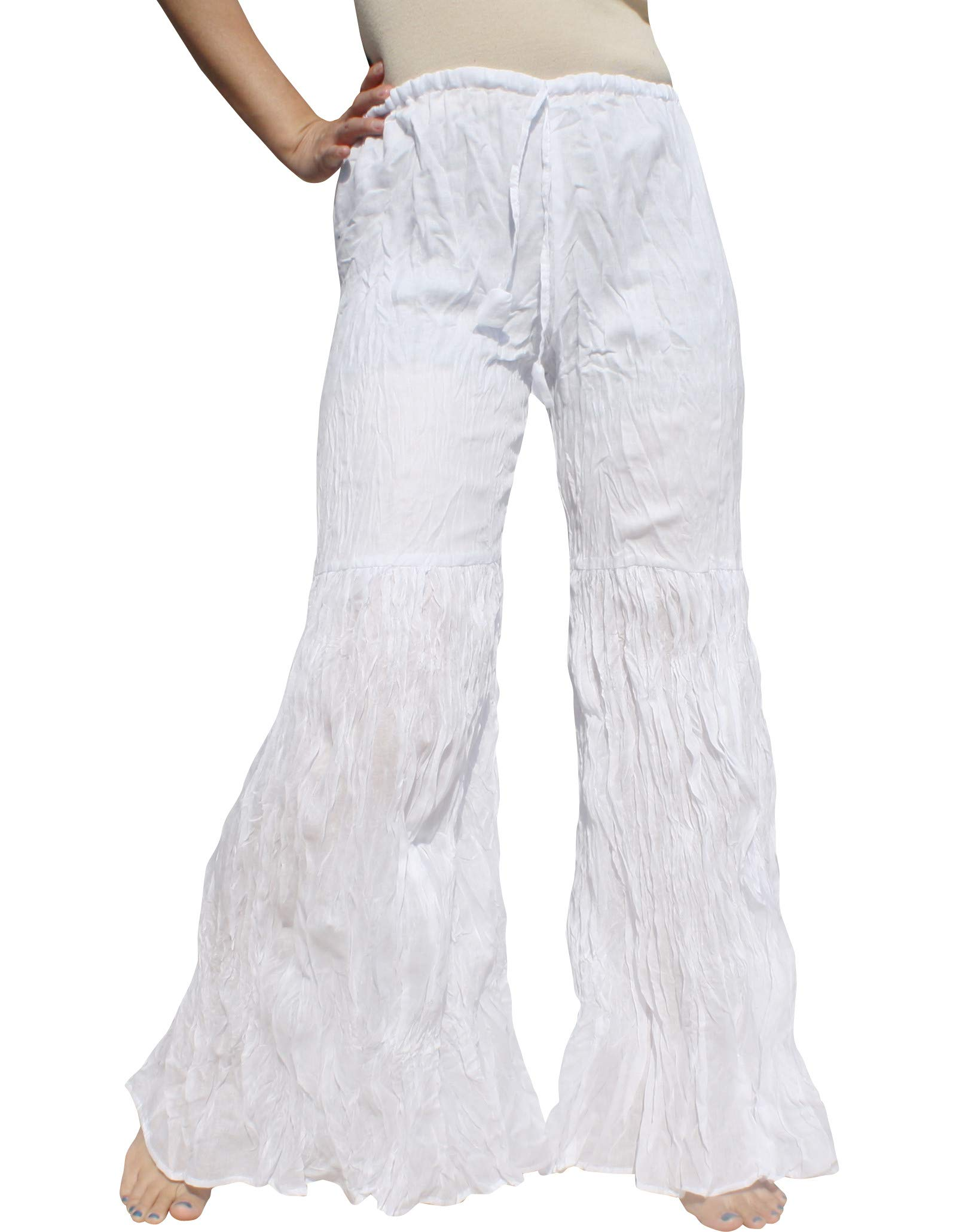 Raan Pah Muang Brand Wide Lower Leg Flared Light Cotton Stepped Pants Baggy Cut, Large, White by Raan Pah Muang