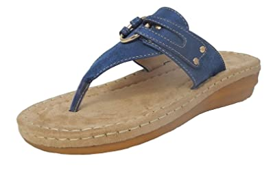 2ef81bc743866 Image Unavailable. Image not available for. Colour  Womens Ladies Leather  Look Toe Post Flip Flops Cushion Comfort Sandals ...